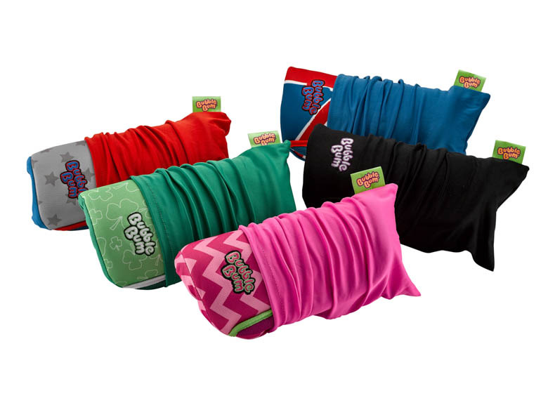 Full BubbleBum seat range rolled up in carry bags